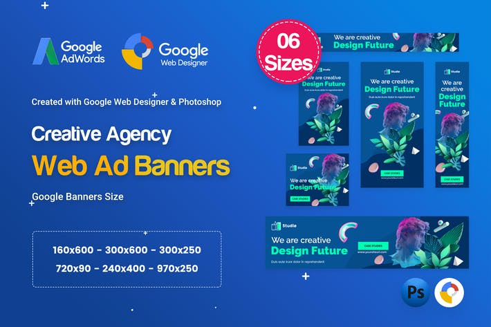 Cover Image For Creative, Startup Agency Banners HTML5 Ad D62