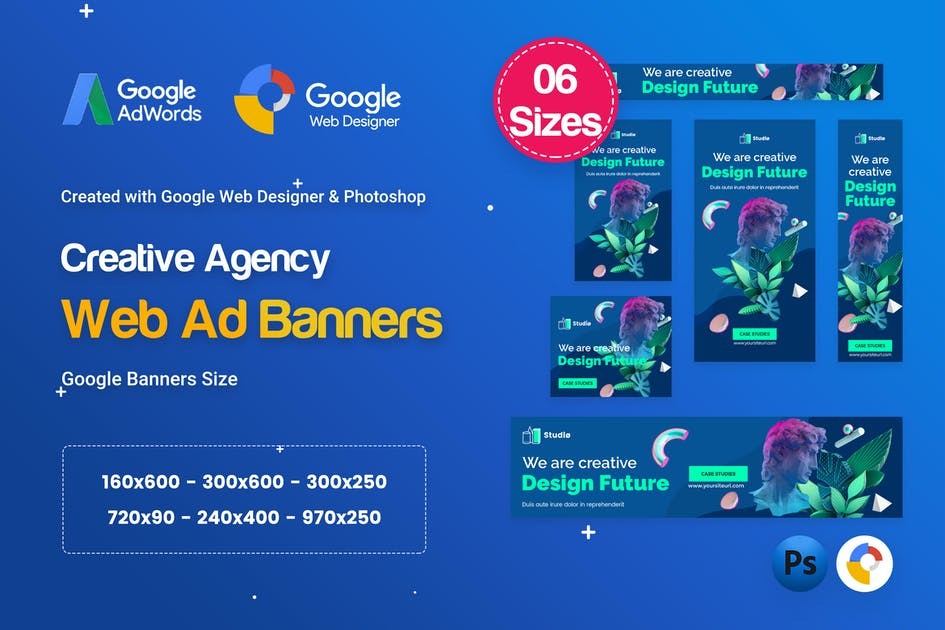 Download Creative, Startup Agency Banners HTML5 Ad D62 by iDoodle