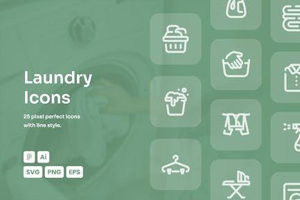Laundry Dashed Line Icons