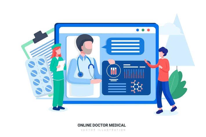 Thumbnail for Online Doctor Medical Vector Illustration