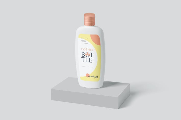 Cover Image For Flach abgerundete Kunststoff-Lotion Flasche Mockup