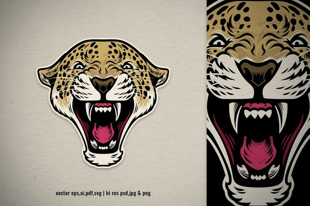 roaring angry leopard head