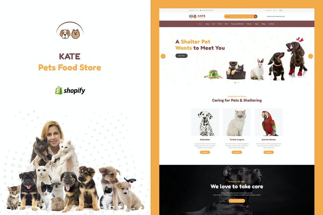 Kate - Dog & Pets Food Store Shopify Theme