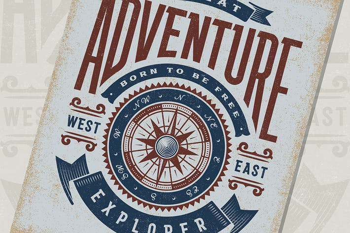 Thumbnail for Vintage Great Adventure Typography
