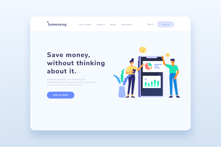 Thumbnail for Business Money Tracker App landing Page Website