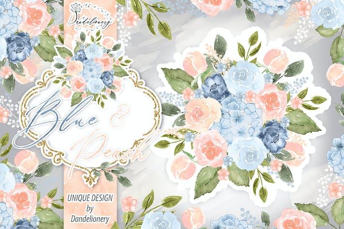 Cover Image For Watercolor Blue Peach design
