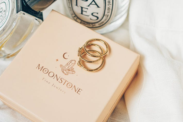 Moonstone Pre-Made Brand Logo Design. Gemstones.