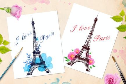 Romantischer Hintergrund mit Paris