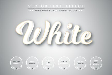 White text with gold stroke - editable text effect