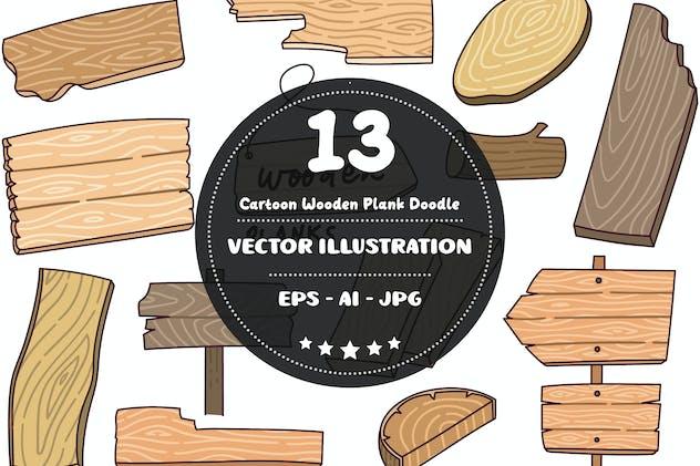 Cartoon Wooden Plank Doodle