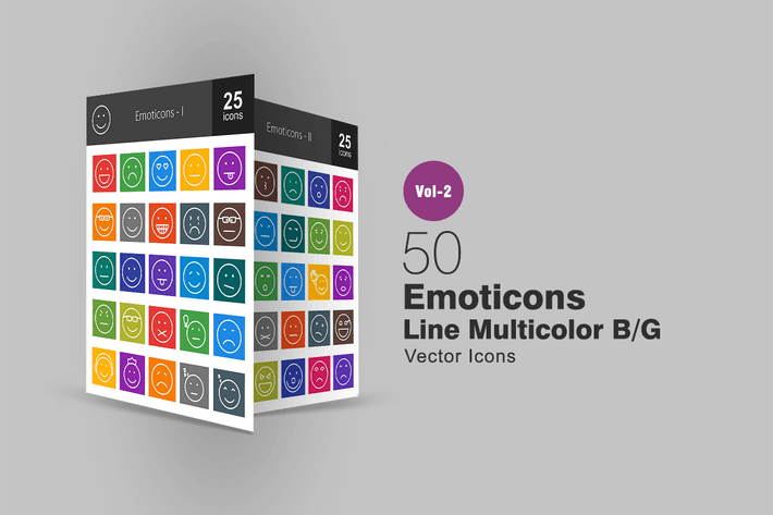 Cover Image For 50 Emoticons Line Multicolor Icons