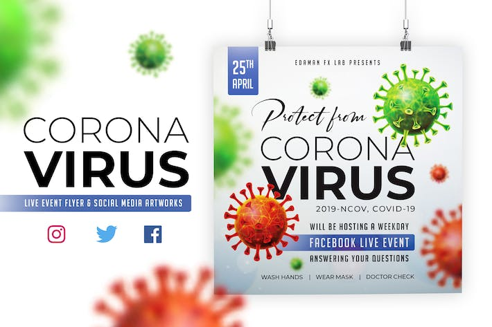 Thumbnail for Coronavirus Flyer & Social Media Artwork