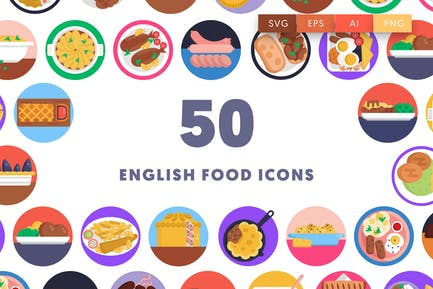50 English Food Icons