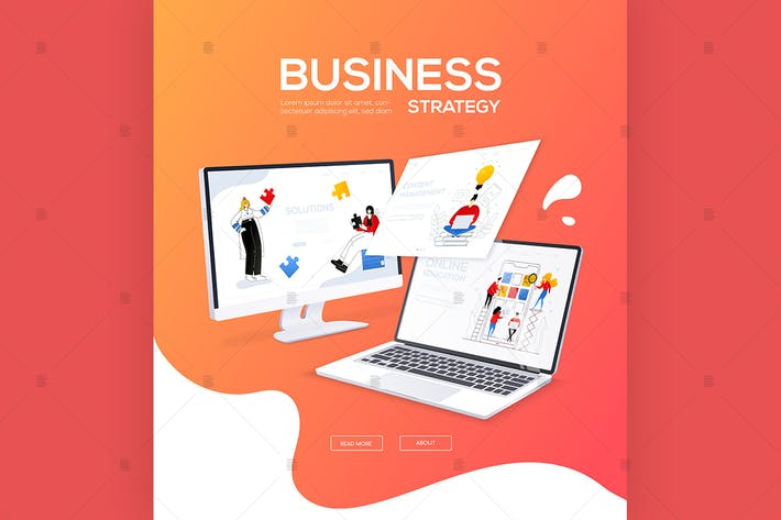 Thumbnail for Business strategy - flat design style web banner