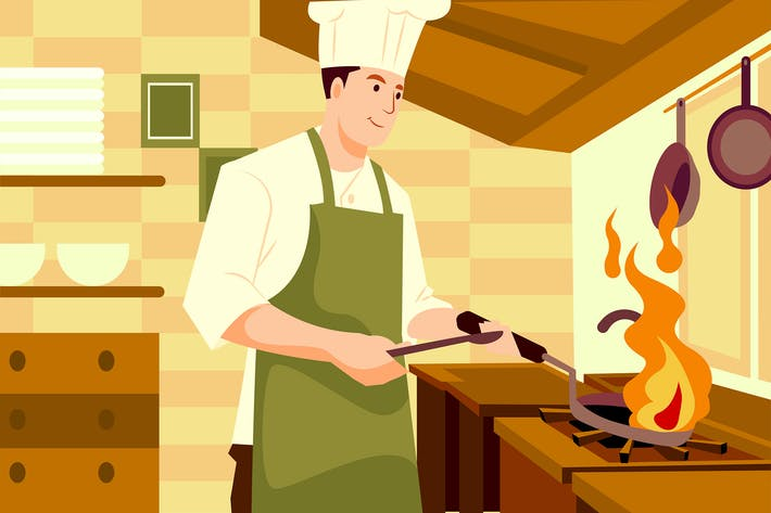 Thumbnail for Chef cooking food in the restaurant kitchen