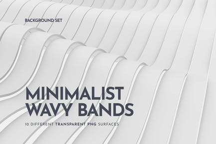 White Wavy Bands Abstract 3D Background Set