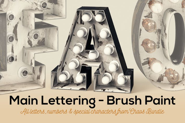 Thumbnail for Marquee Light Bulbs Chaos 9 - Brush Paint Letters