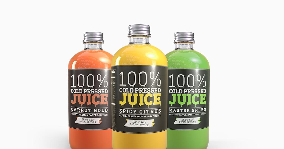 Download Cold Pressed Juice Glass Bottle Mockup by bangingjoints