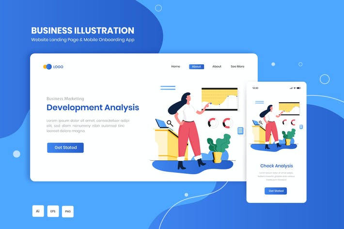Thumbnail for Development Analysis Marketing Illustration Kit