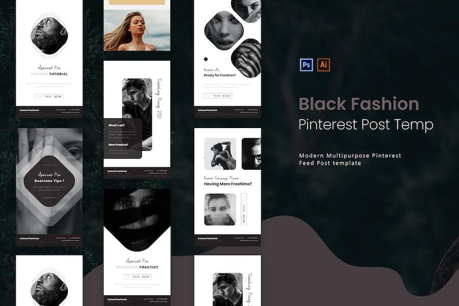 Black Fashion | Pinterest Post Template