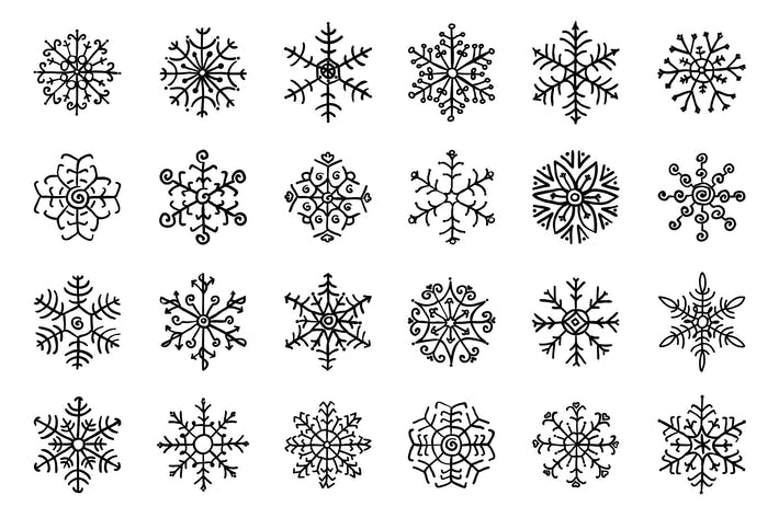 Thumbnail for Separate Snowflakes Doodles. PNG, AI