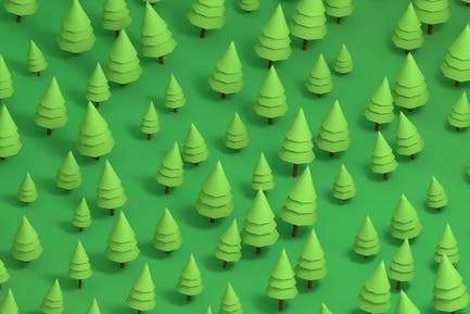 Pine Trees Low Poly Backgrounds and Patterns