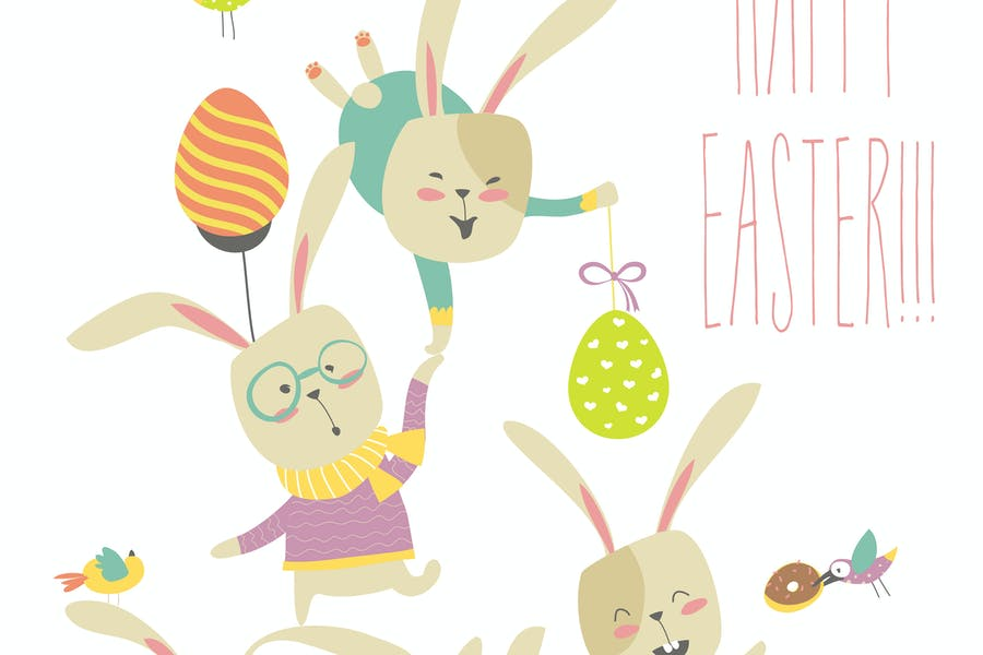 Funny bunnies celebrating Easter