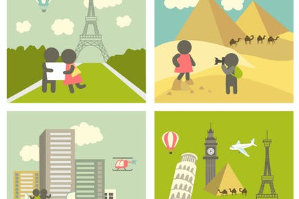 Couple in love traveling. Vector icons