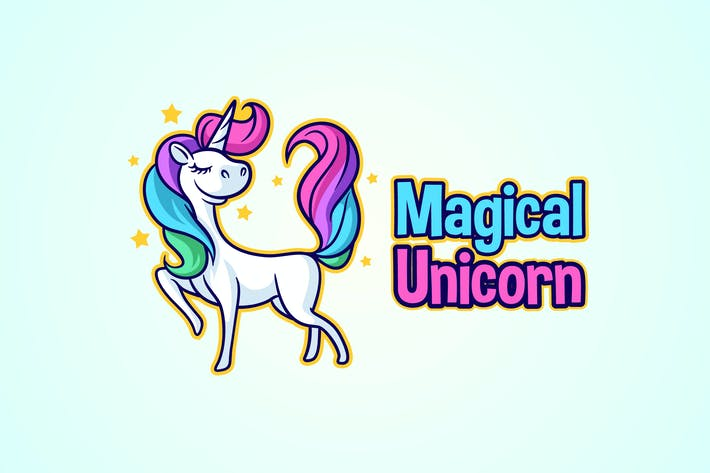 Thumbnail for Magical Unicorn Character Mascot Logo