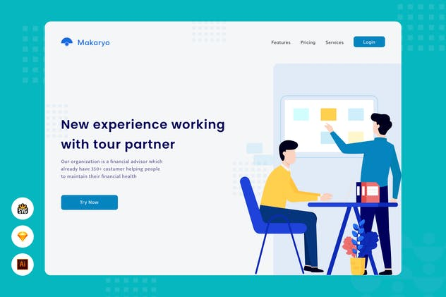 New experience working - website header