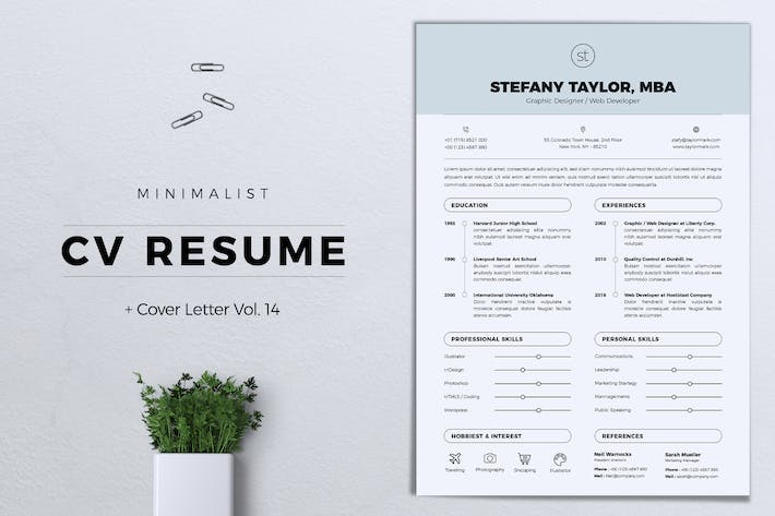 Thumbnail for Minimalist CV Resume Vol. 14