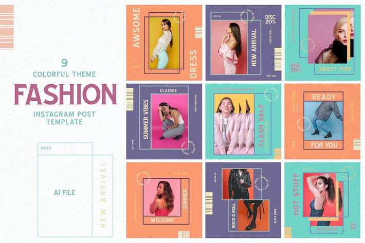 Thumbnail for Colorful Theme - Fashion Instagram Post