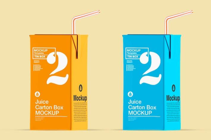 Saft-Karton-Box mit Stroh-Mockup
