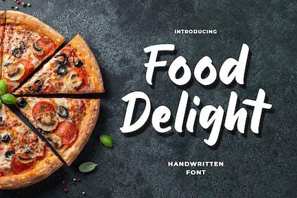 Guión y fuente manuscrita para deleite de alimentos