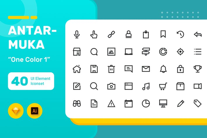 Thumbnail for Antarmuka - UI Element Iconset - One  Color 1