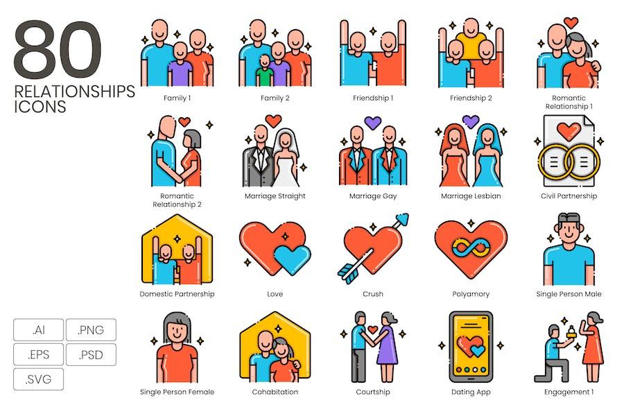 80 Beziehungen Icons - Ästhetik-Serie