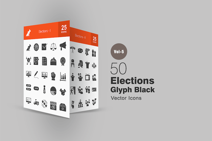 Thumbnail for 50 Elections Glyph Icons
