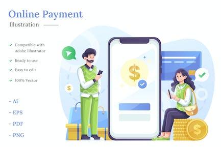 Ilustración de pago en línea