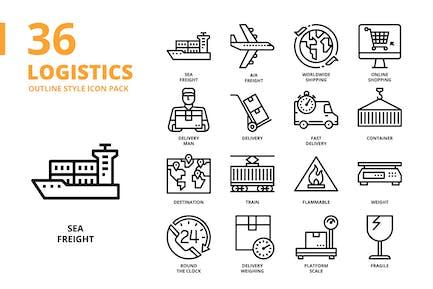 Logistics Outline Style Icon Set