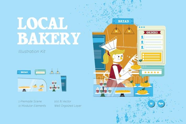 Местный пекарня Графическая иллюстрация