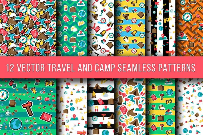 Thumbnail for Travel And Camping Seamless Patterns
