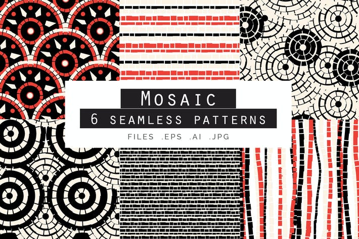 Thumbnail for Mosaic Seamless Vector Patterns Set of 6