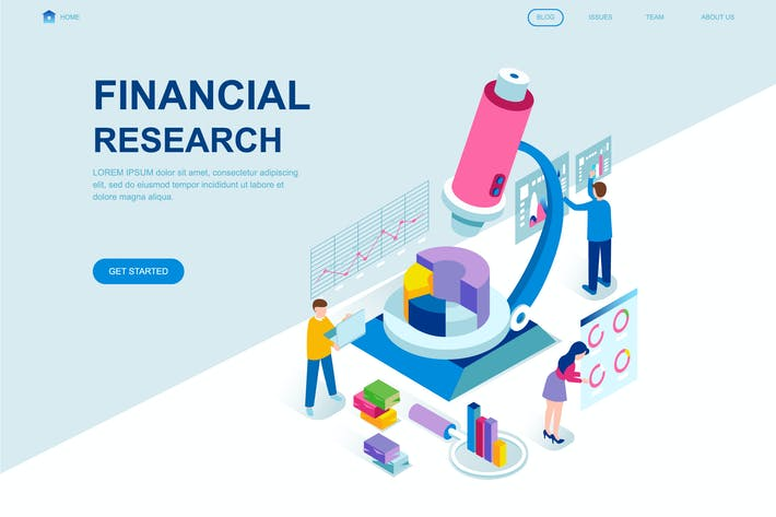 Cover Image For Financial Research Isometric Landing Page Template