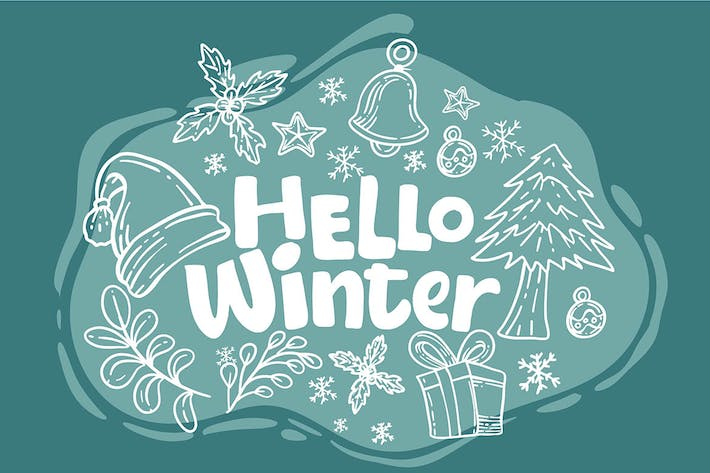 Thumbnail for Hand draw Hello Winter - vector