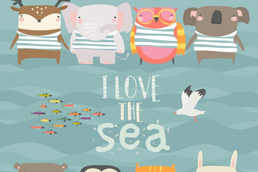 Set of cute animals wearing striped vest on sea ba