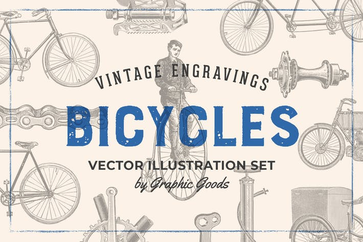 Cover Image For Bicycles - Vintage Illustration Set