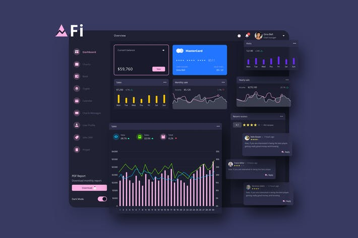 Thumbnail for Fi Finance Dashboard Ui Dark - P