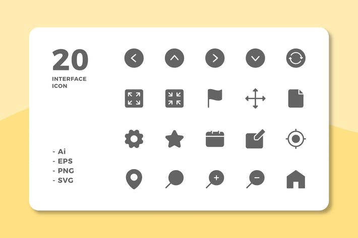 Thumbnail for 20 Interface Icons Vol.1 (Solid)