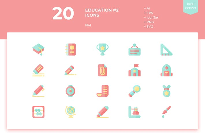 Thumbnail for 20 Education #2 Icons (Flat)