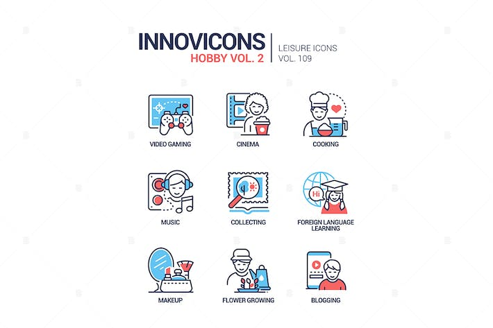 Thumbnail for Hobby and activities - line design style icons set